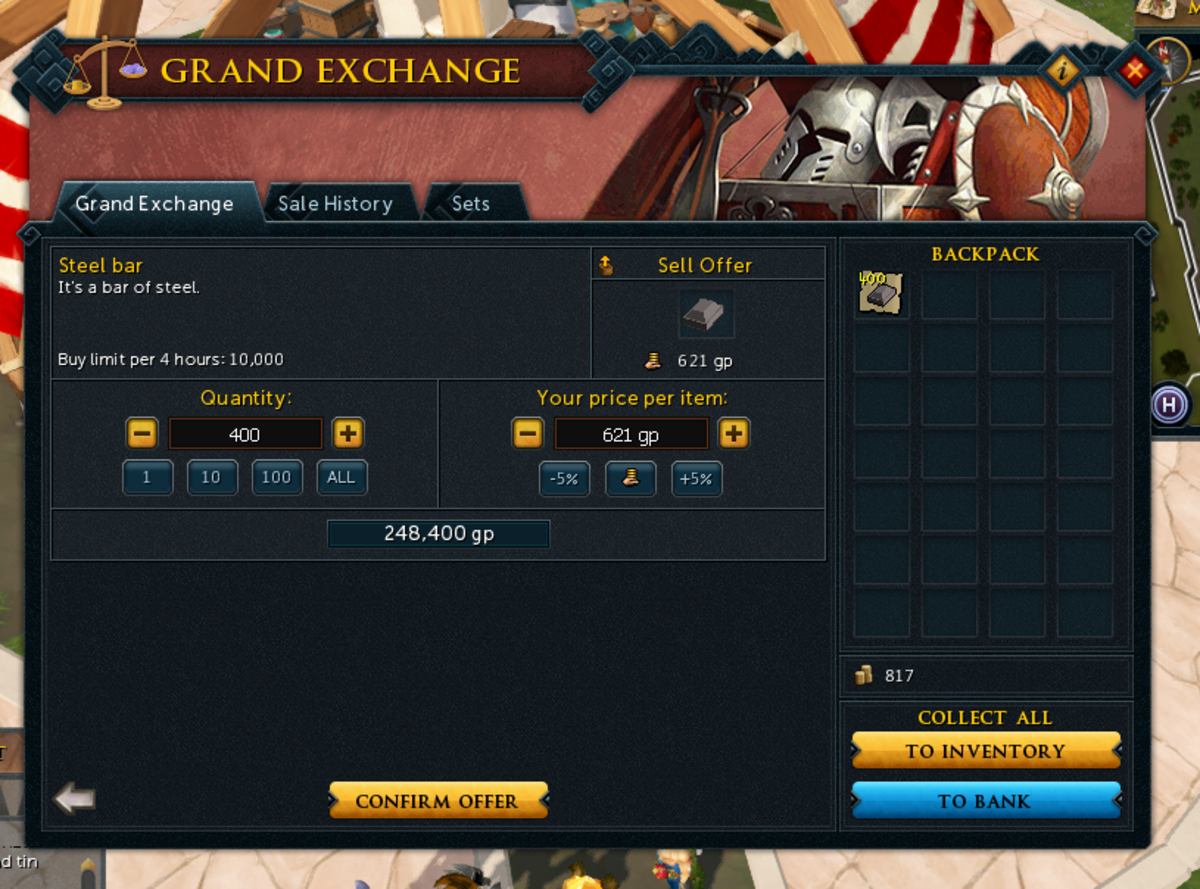 This is the selling window for the Grand Exchange. Here you can select prices and amounts.