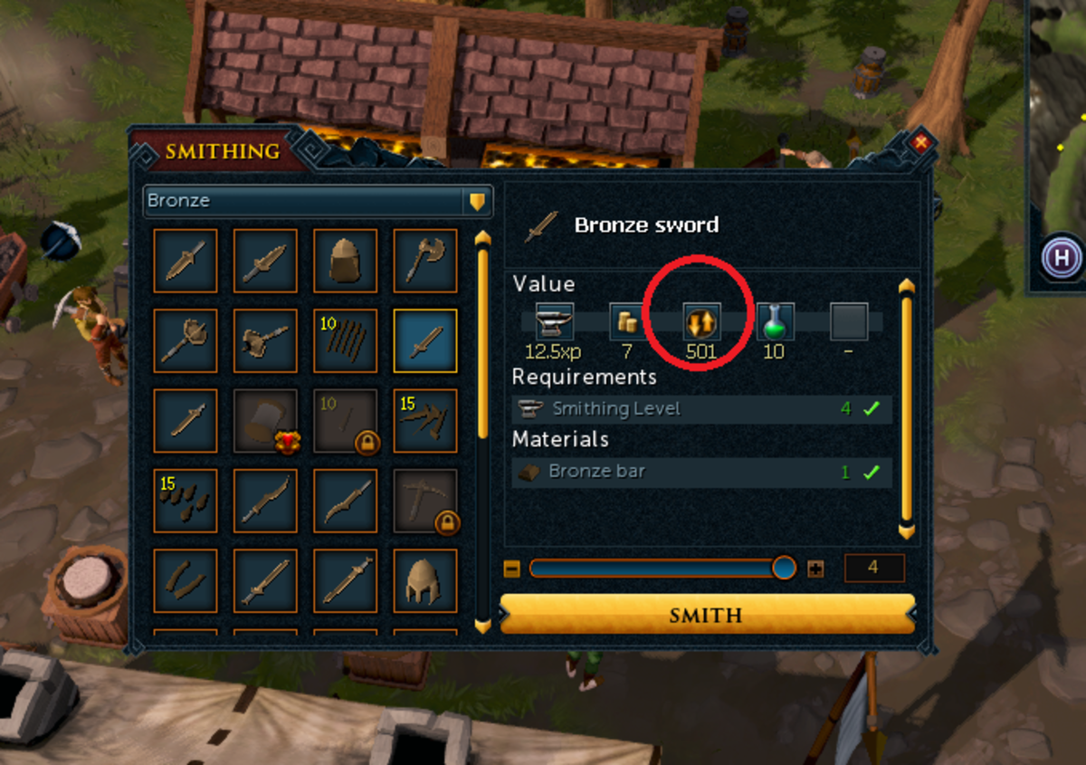 The red ring is around the price that is being offered for this item. 501 gold for a single bronze sword.