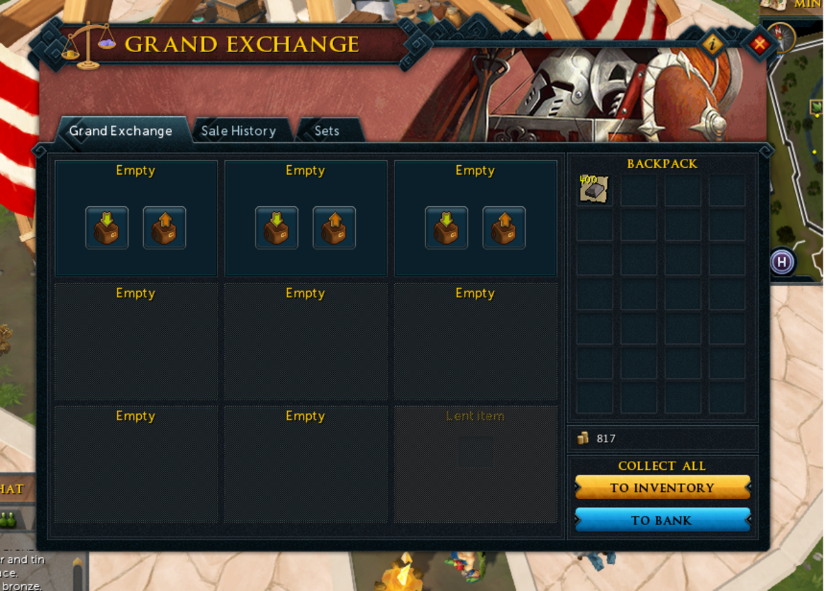 The Grand Exchange. Here you can buy and sell items in Runescape.