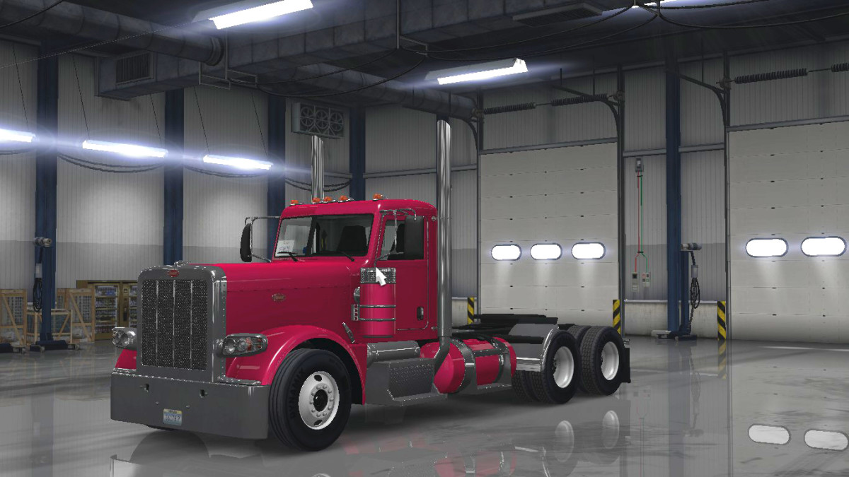 """Check out my hot pink rig!  You can't see it from this angle, but I've got a vanity plate in the dashboard that says """"Pinkie""""- which is part of my online alias :)"""