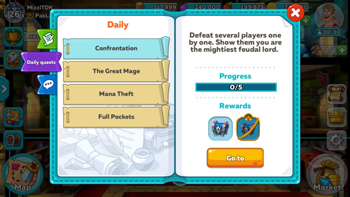 Hustle Castle Daily Quests.