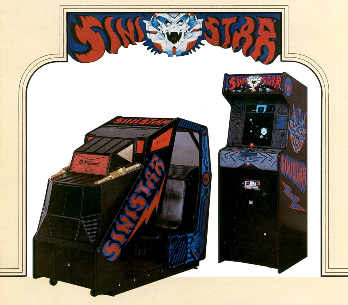 The cockpit cabinet for Sinistar (1983), shown next to its upright counterpart.