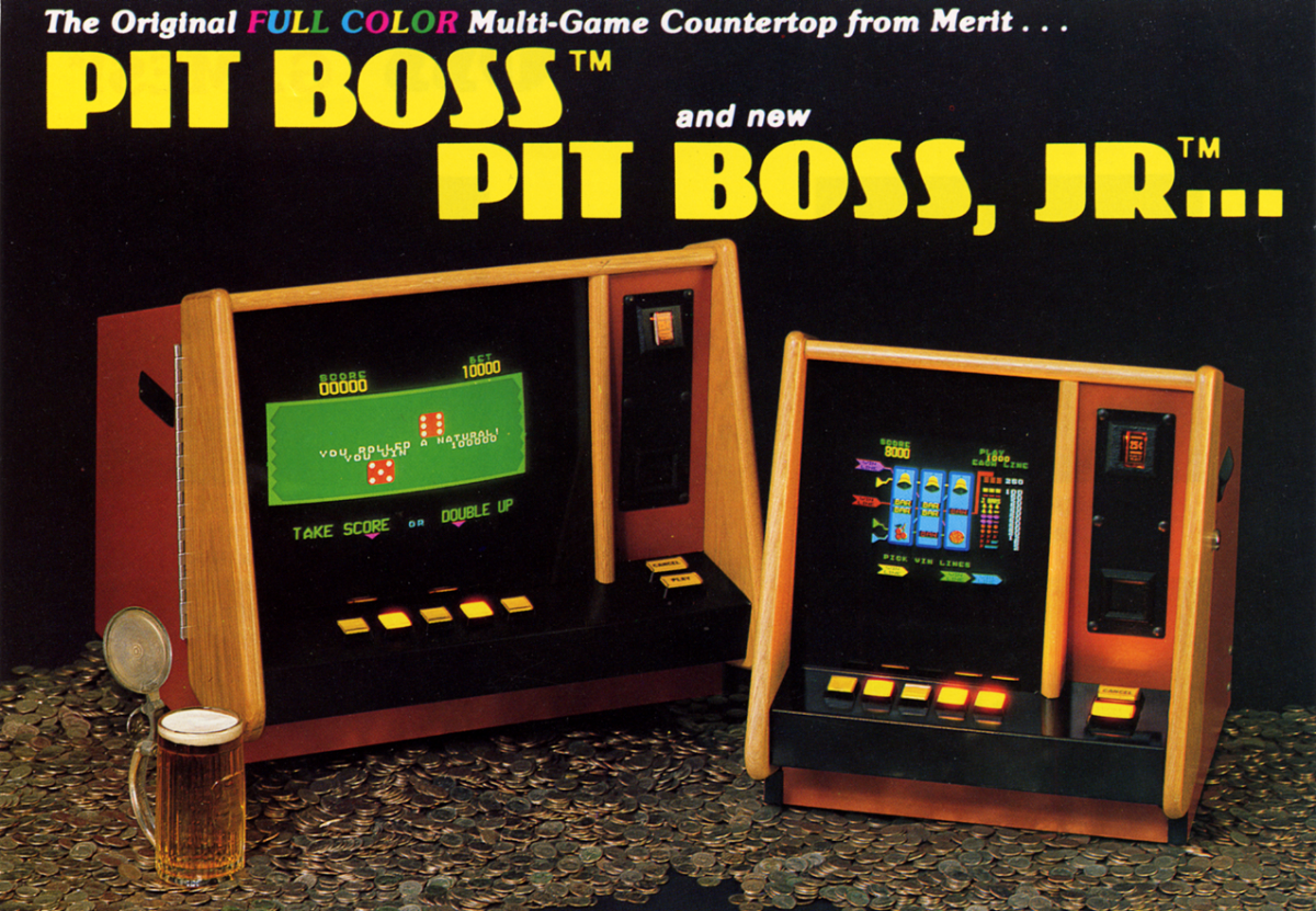 A 1983 Merit Industries flyer for two countertop cabinets: Pit Boss and Pit Boss, Jr.
