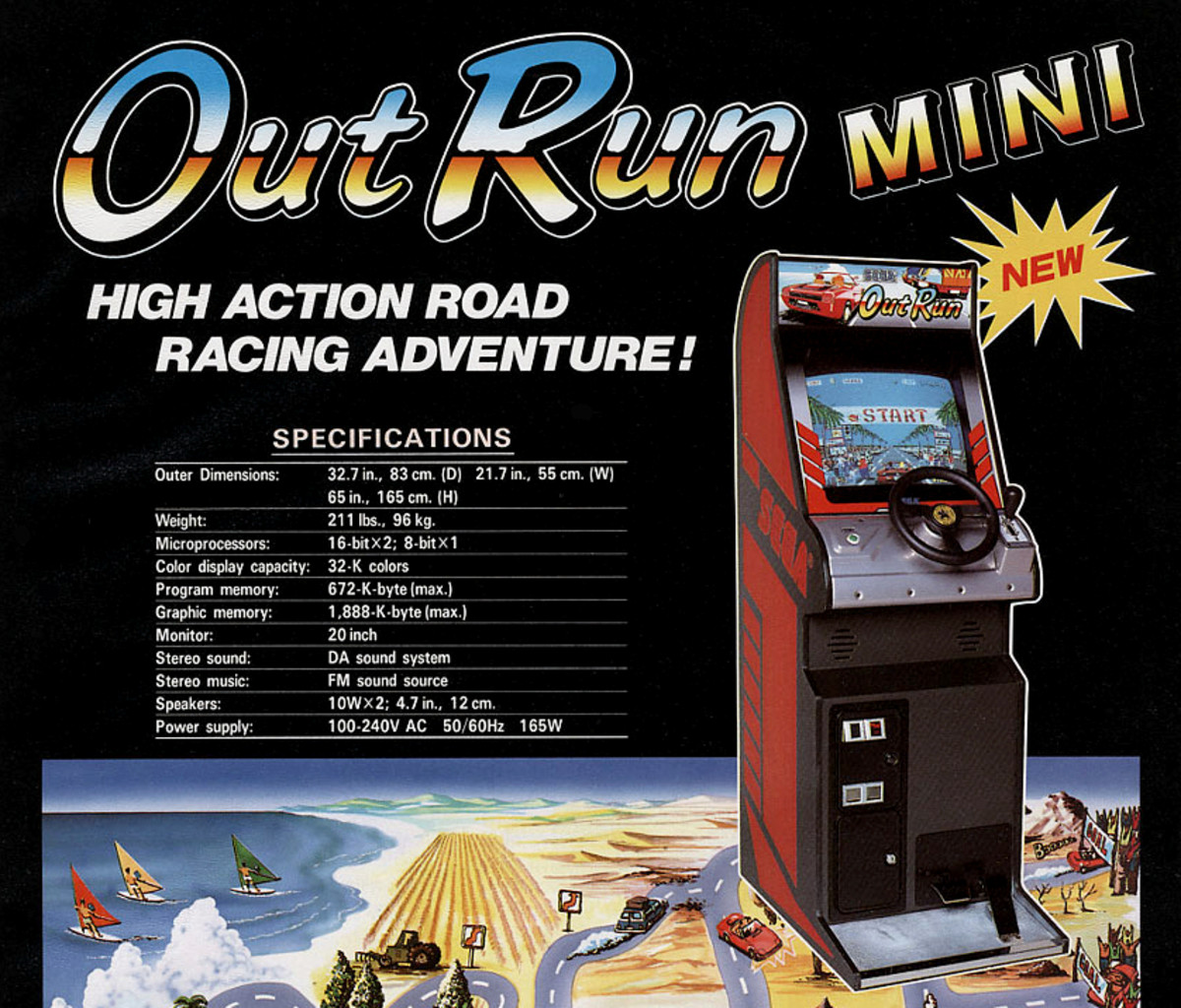 "The cabaret cabinet for Sega's Out Run (1986), marketed here as a ""mini"" model."