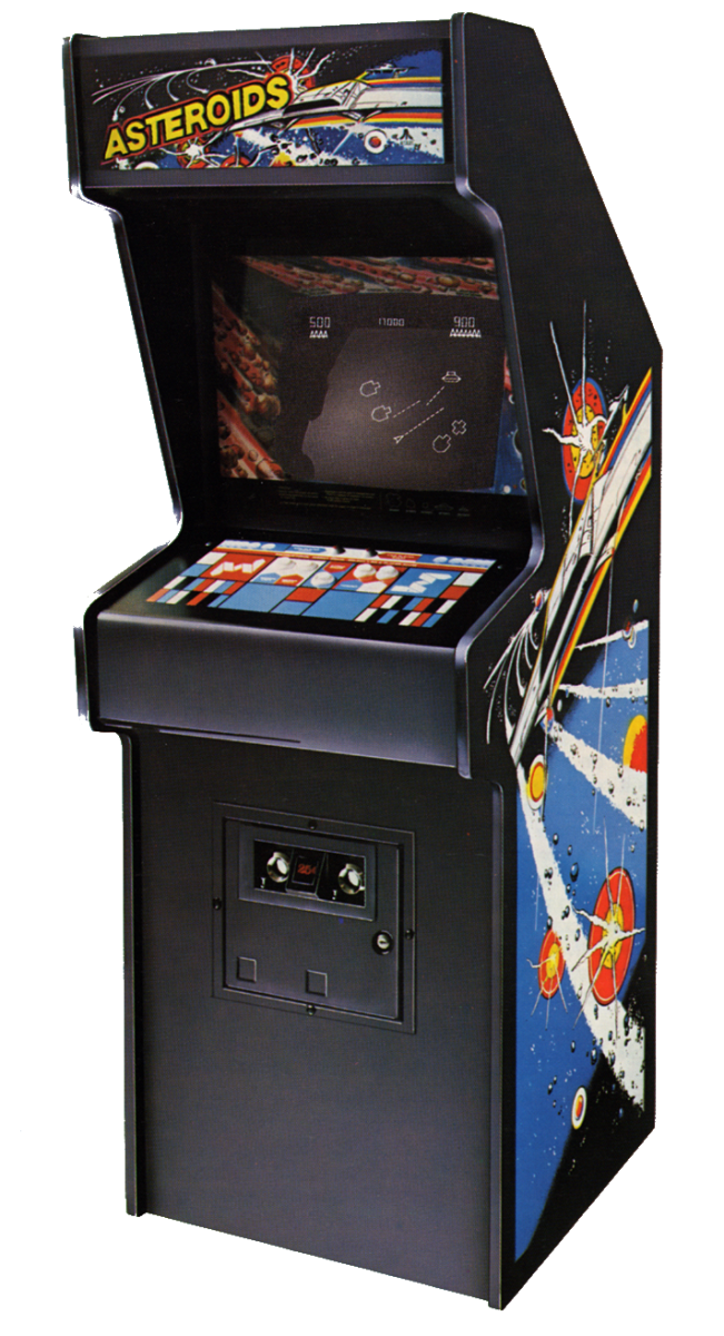 The upright cabinet for Asteroids (1979).