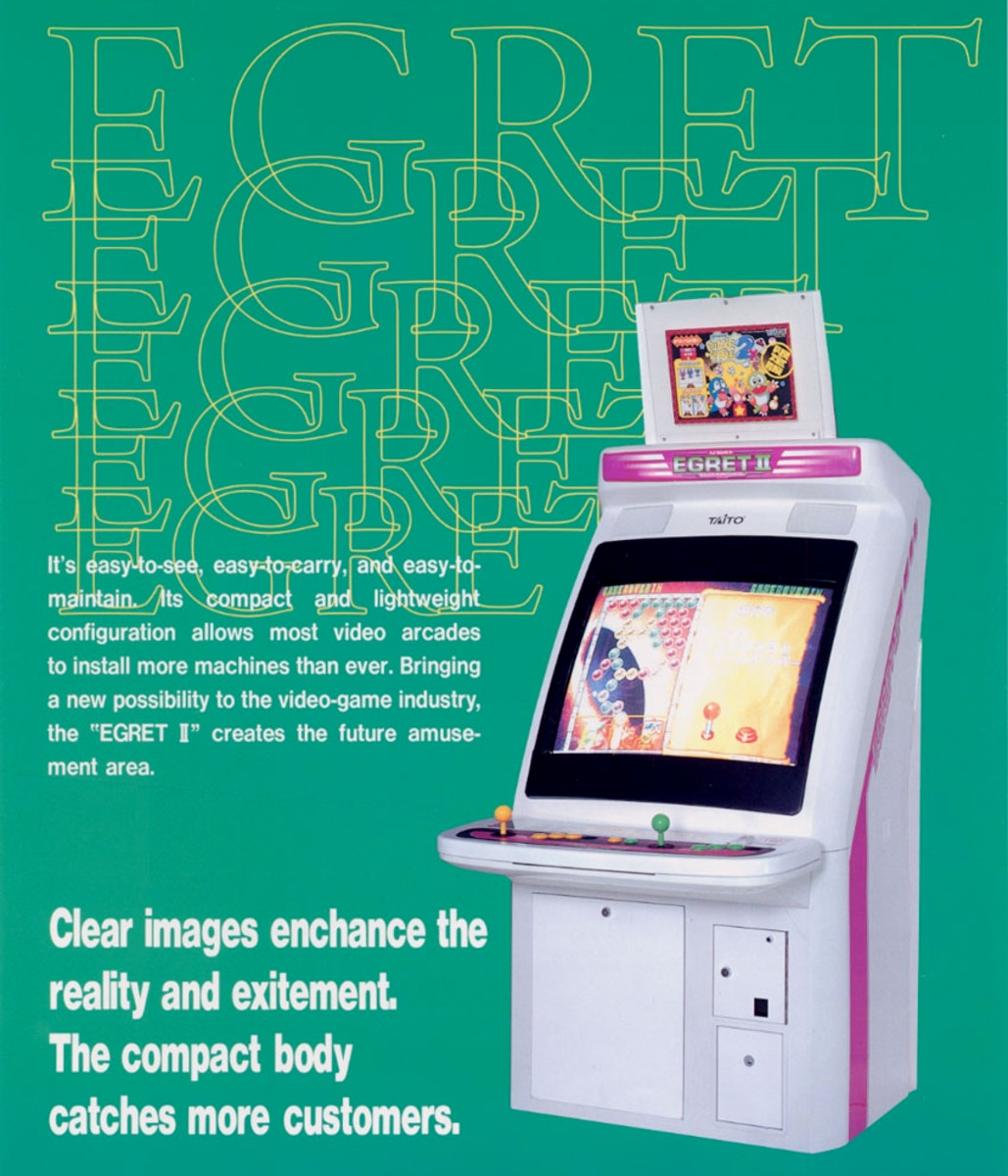 Flyer for Egret II (1996), a popular candy cab model by Taito.