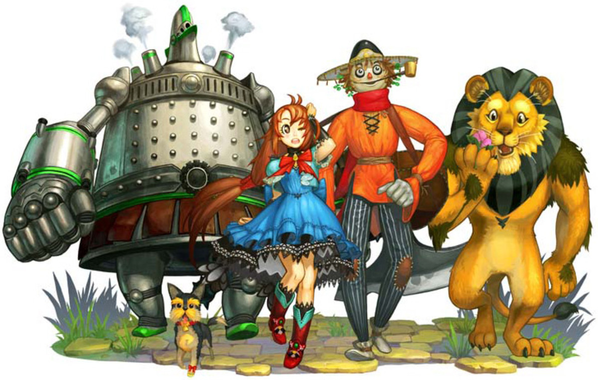 "A promotional graphic showing Dorothy, Scarecrow, Tin Man, and Lion as they appear in ""The Wizard of Oz: Beyond the Yellow Brick Road."""
