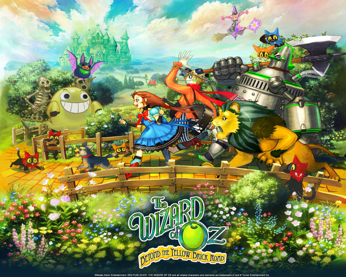 A promotional image for The Wizard of Oz: Beyond the Yellow Brick Road, showing off the anime style re-imagining of the the Wizard of Oz for this game.