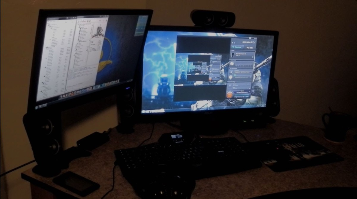 A YouTuber's setup of the Elgato Game Capture HD.