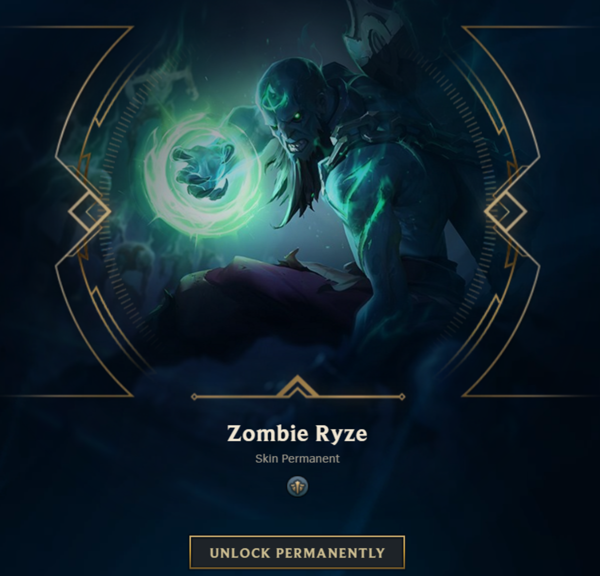 "Zombie Ryze Permanent: A 975 RP value Skin which is grouped under the ""Other"" category"