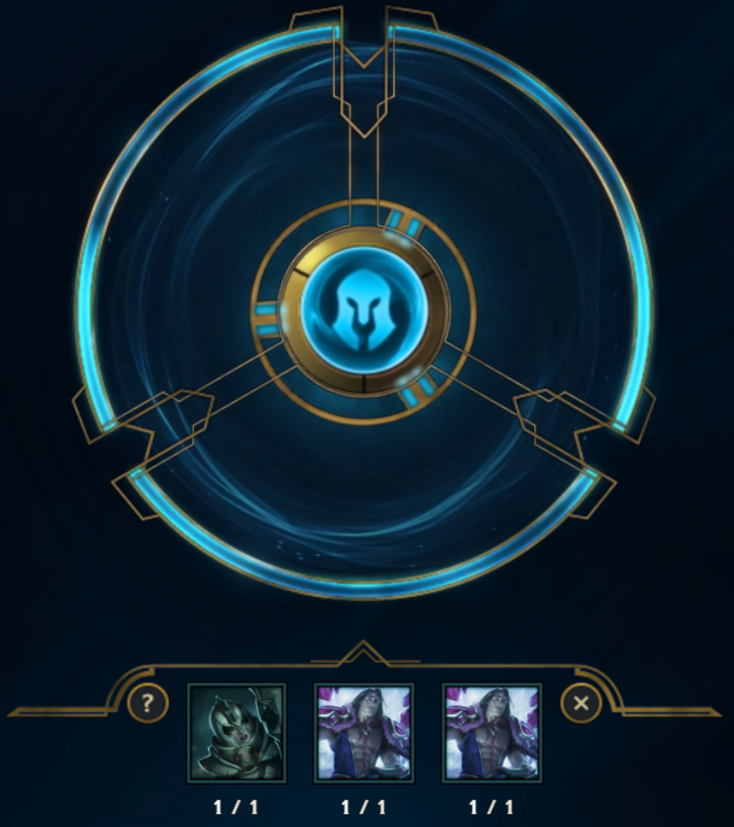 Re-Rolling 3 Skin Shards into a Permanent Skin: Don't worry, I only re-rolled the Taric shards because I own that fabulous skin.