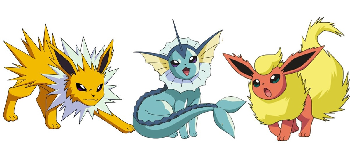Jolteon, Vaporeon, and Flareon