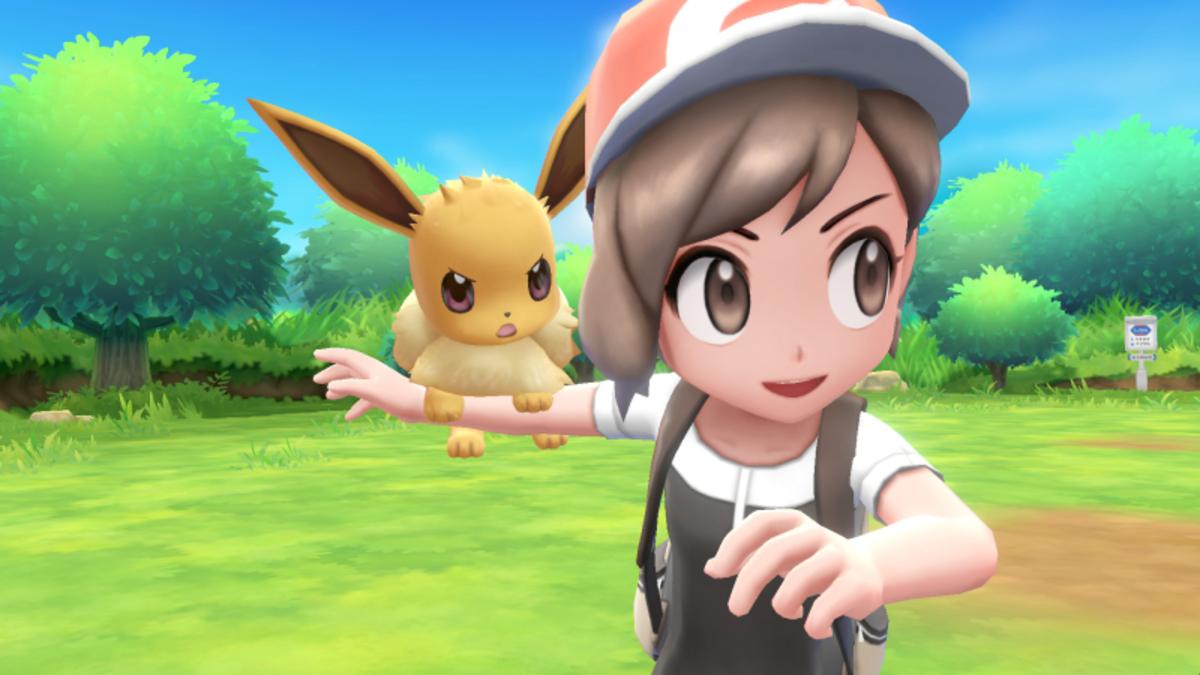 Eevee and Trainer in Pokemon: Let's Go, Eevee!