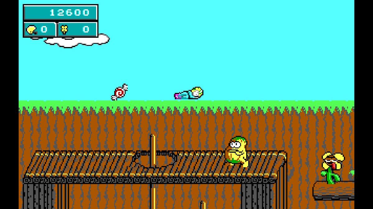 A screenshot of Commander Keen dying in Commander Keen in Keen Dreams (Nintendo Switch port).