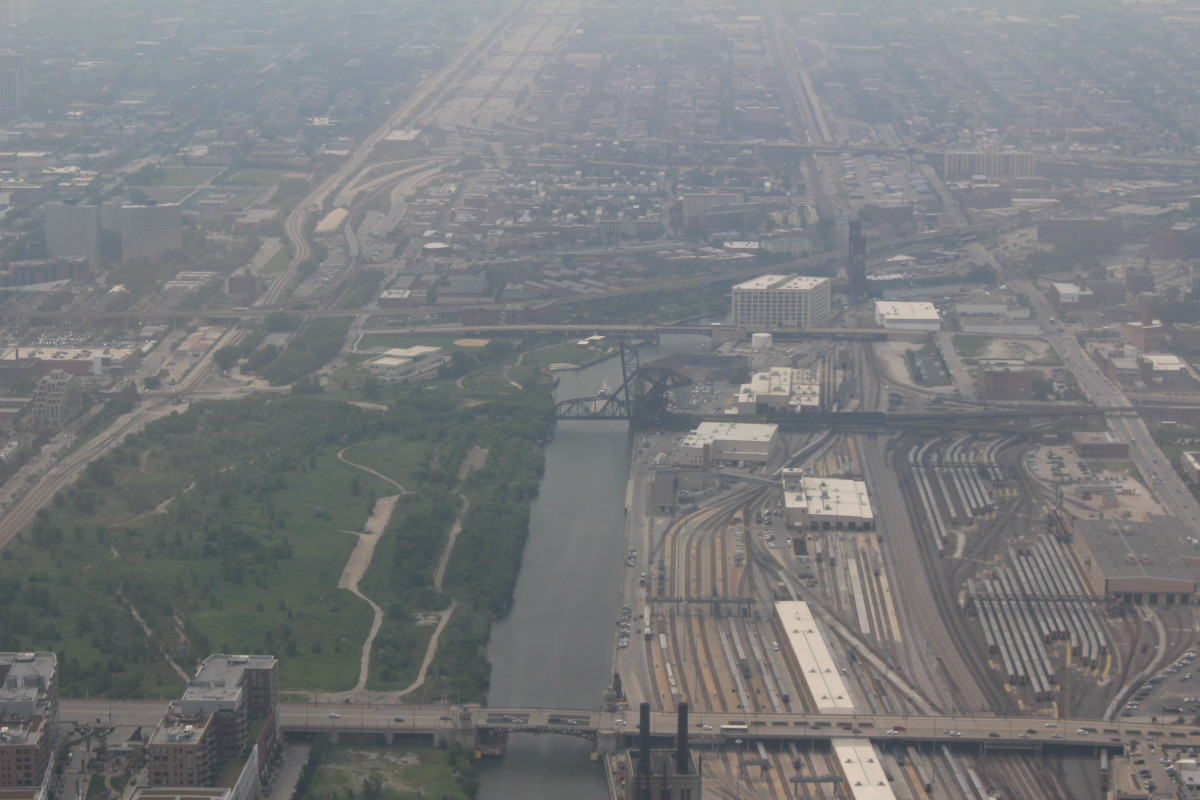 View of the area from the top of Willis Tower.