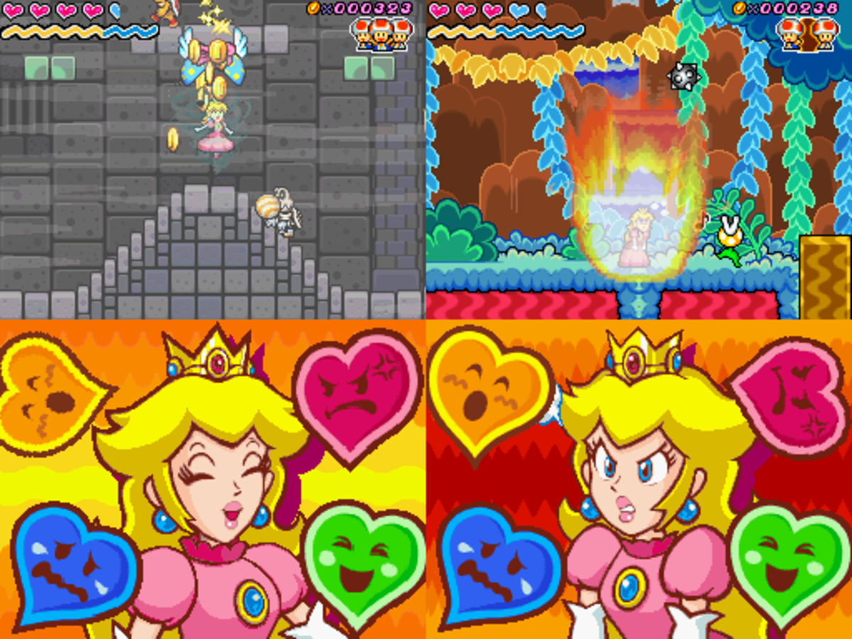 """Two screenshots from """"Super Princess Peach"""" showing Peach using her emotion-based powers, called """"vibes."""""""