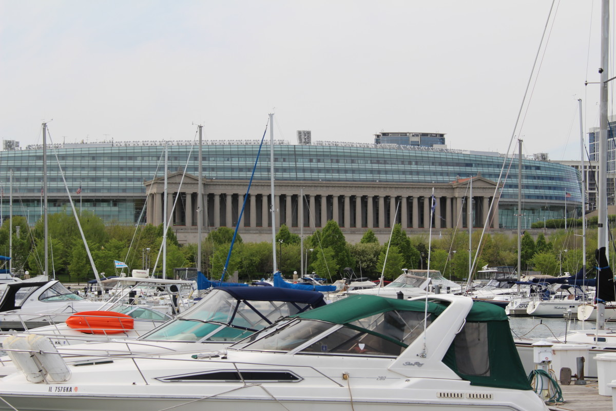 Do you notice the Roman style columns of Soldier Field? I was facing west from Northerly Island when I took this picture in May of 2016.