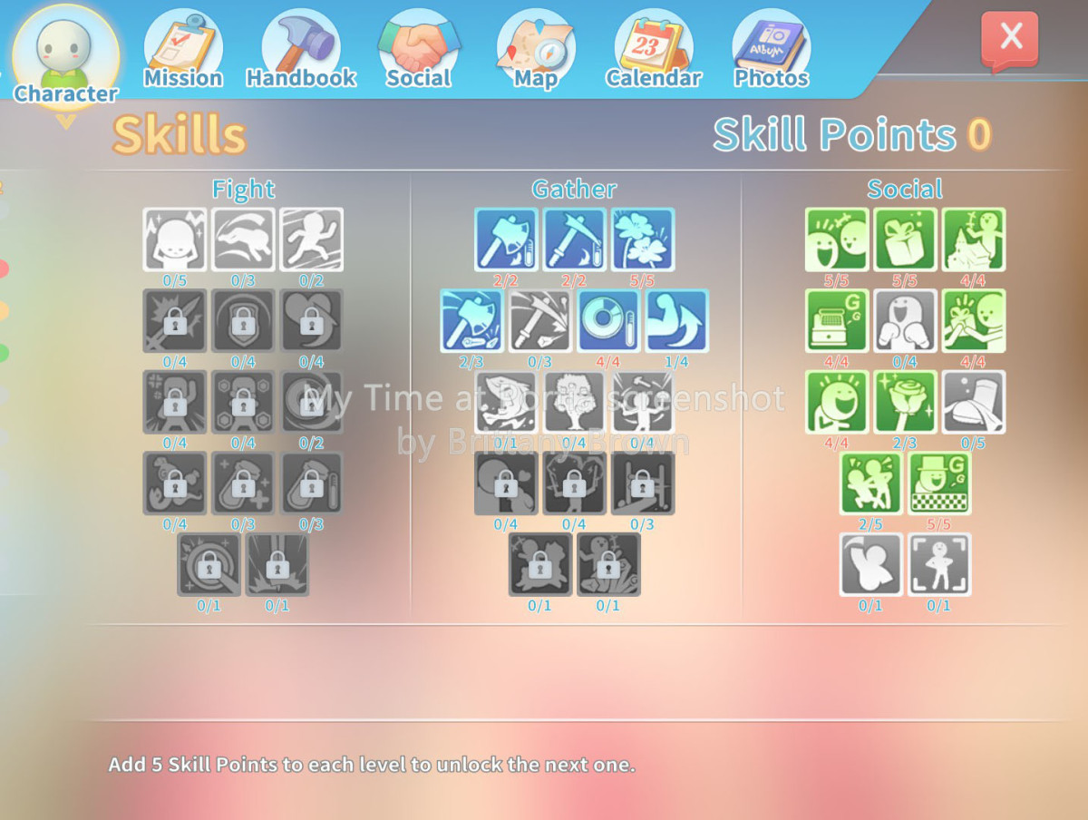 My Time at Portia skill tree