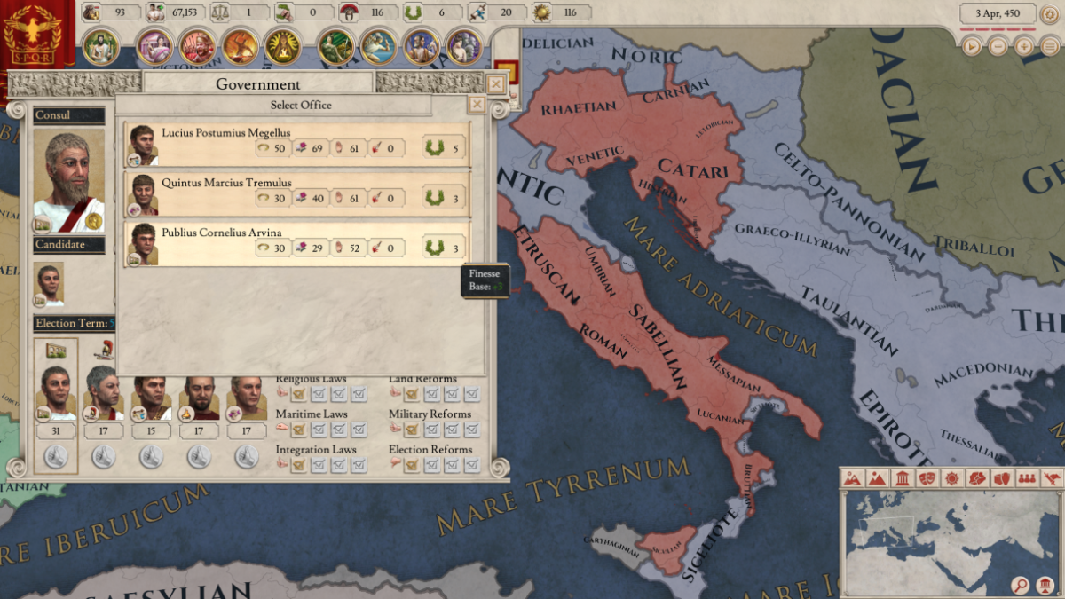 The government screen in Imperator Rome.