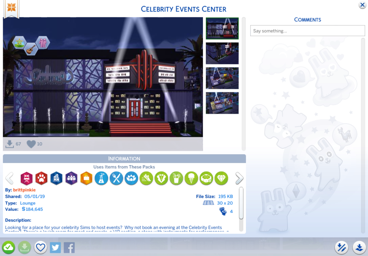 "I created this ""Celebrity Events Center"" for my game and uploaded it to the gallery recently.  I use it in my game for my celebrity Sims to host meet and greets."