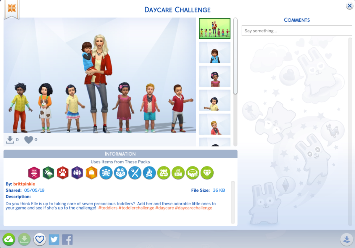 "Feel free to download the Sims I created for the Daycare Challenge!  Just look for ""brittpinkie"" in the Sims 4 Gallery and download the household ""Daycare Challenge."""
