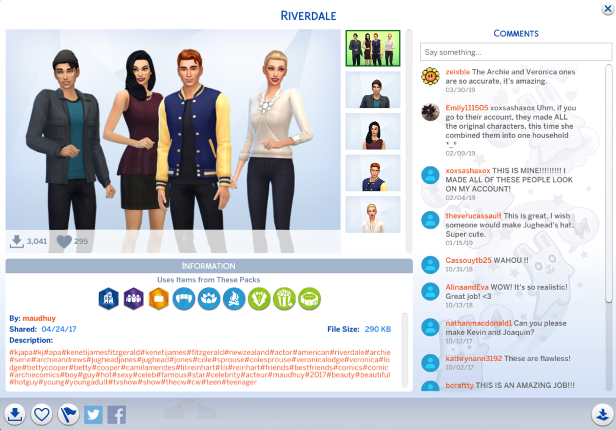 Sims 4 user maudhuy made a faithful recreation of the cast of Riverdale!
