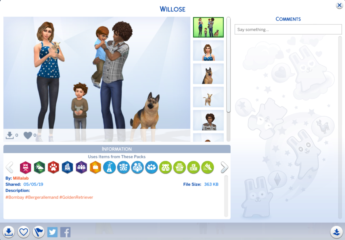How cute is this family created by Sims 4 player, Millalab? Toddlers and a dog, even!