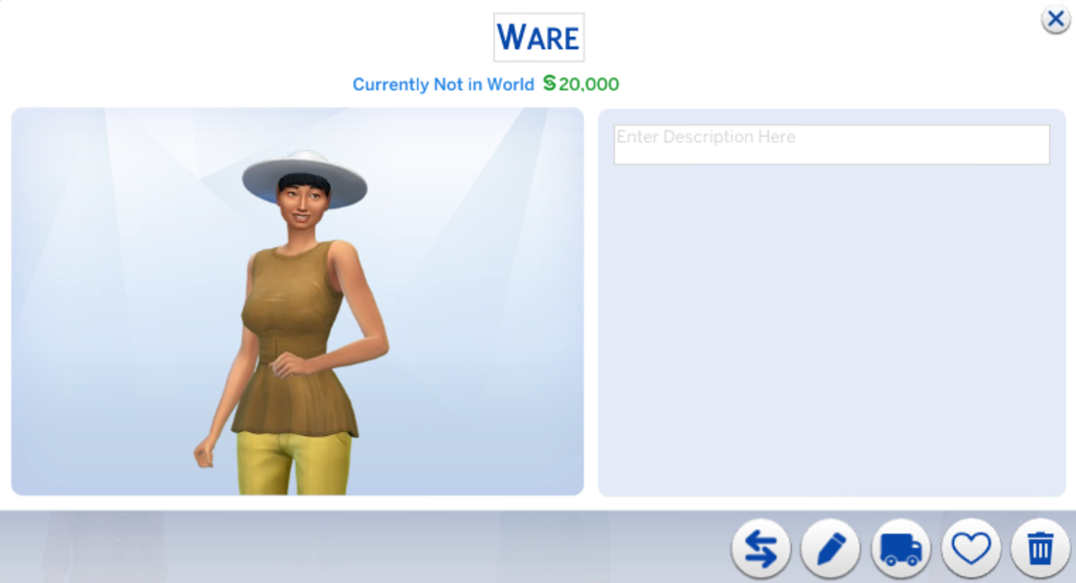 """A typical """"ugly"""" townie generated by my Sims 4 game.  What's with the hideous hats?!"""