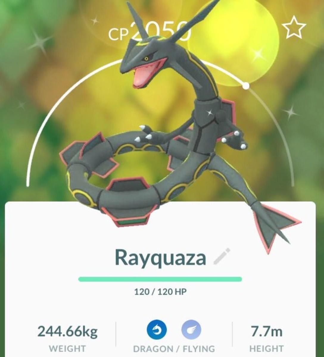 Shiny Rayquaza in Pokemon GO