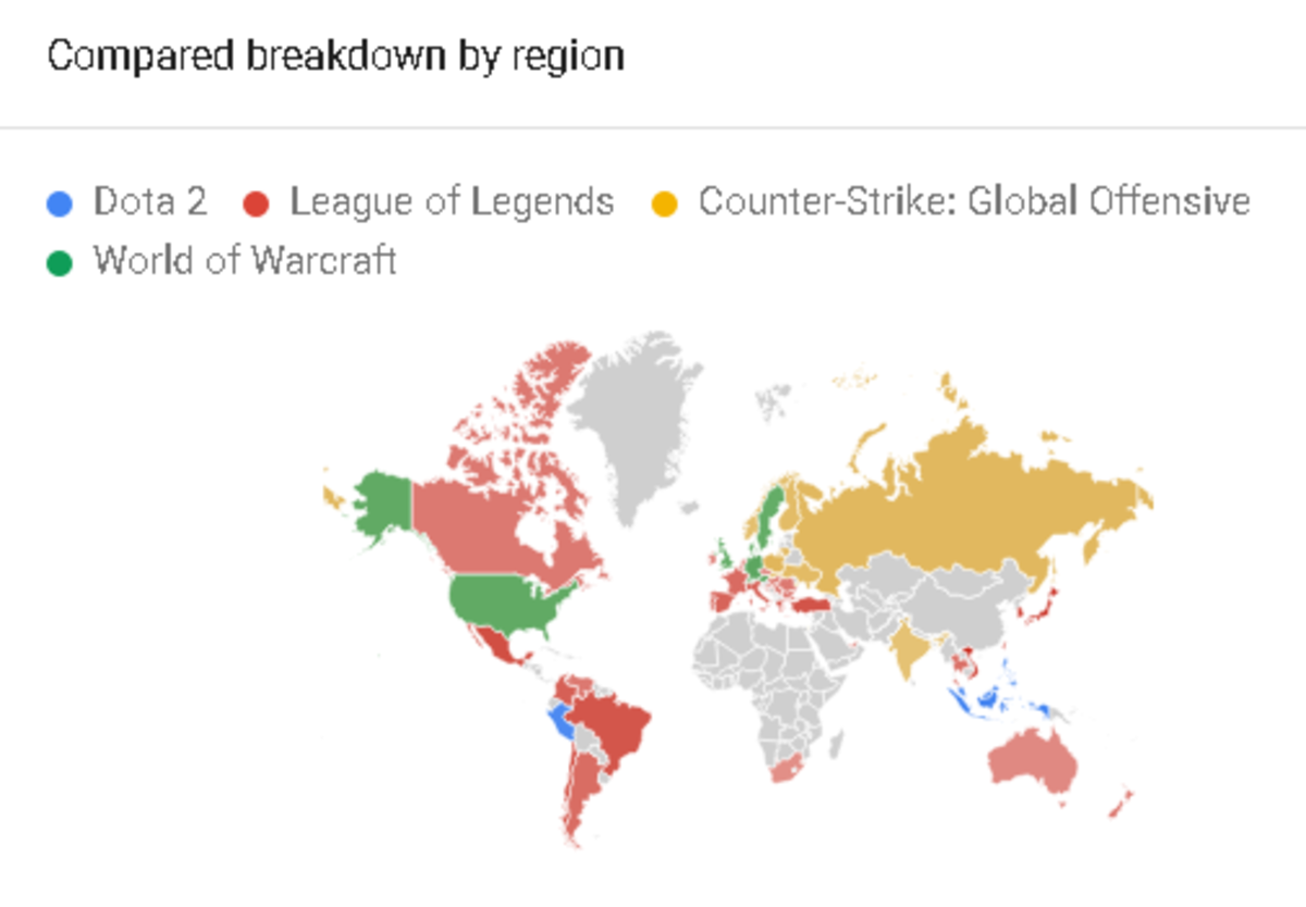Chart showing the popularity of these games by region for the past five years.
