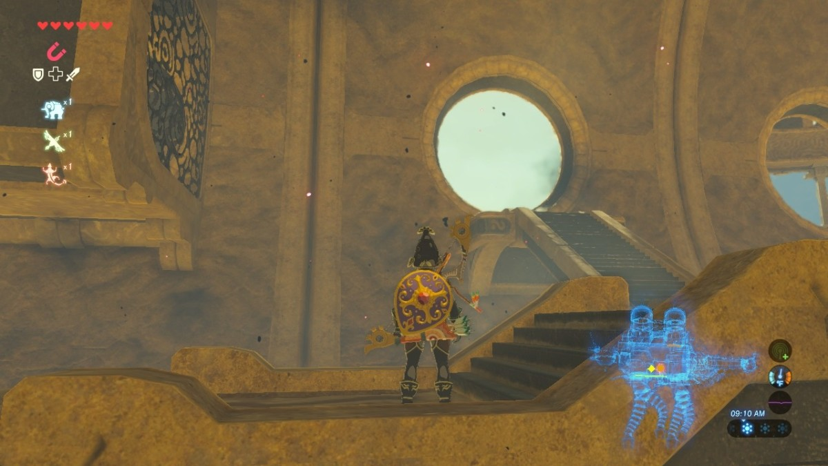 Head through this hole/doorway to the left after exiting the map terminal.