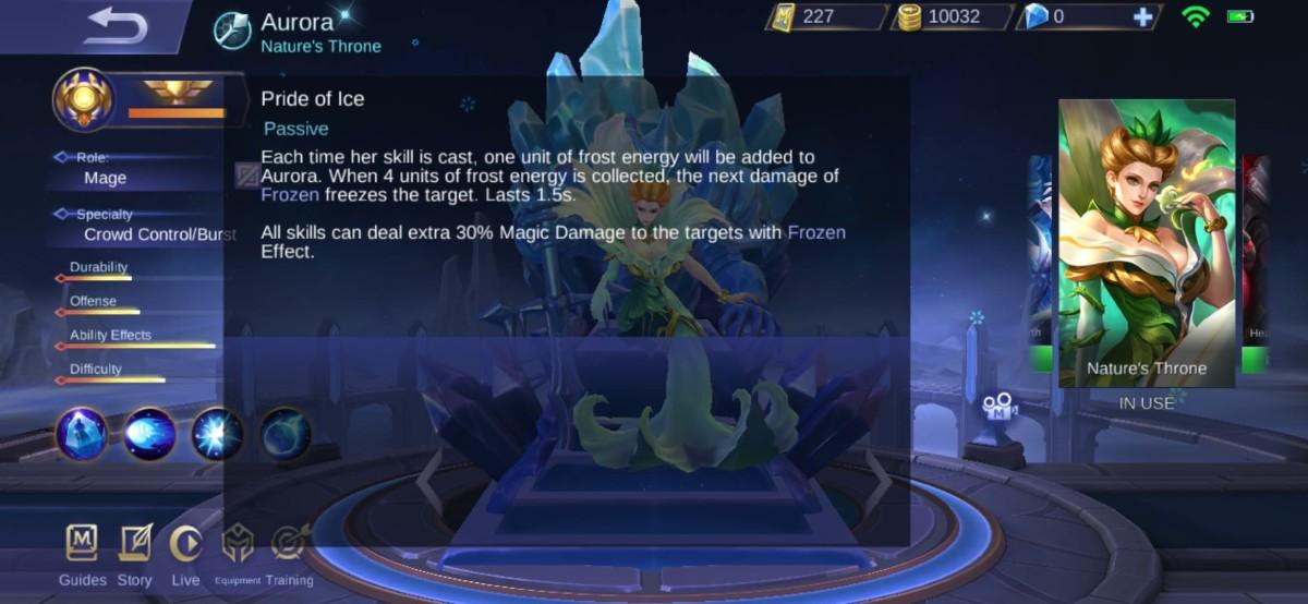 Description on Aurora's Pride of Ice Skill