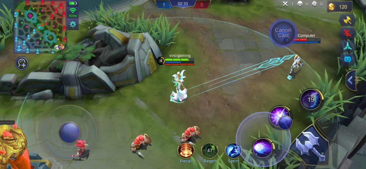 Aurora Aiming Her First Skill to the Enemy Target