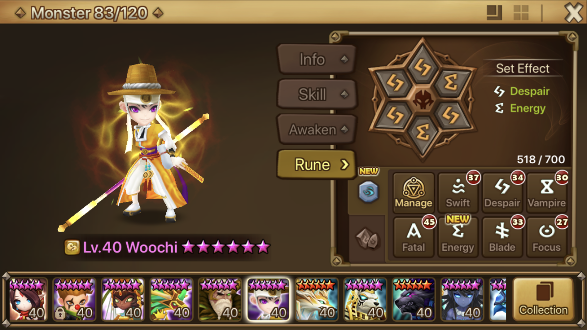 Woochi is a very valuable monster—his third skill reduces all enemy attack bars to 0!