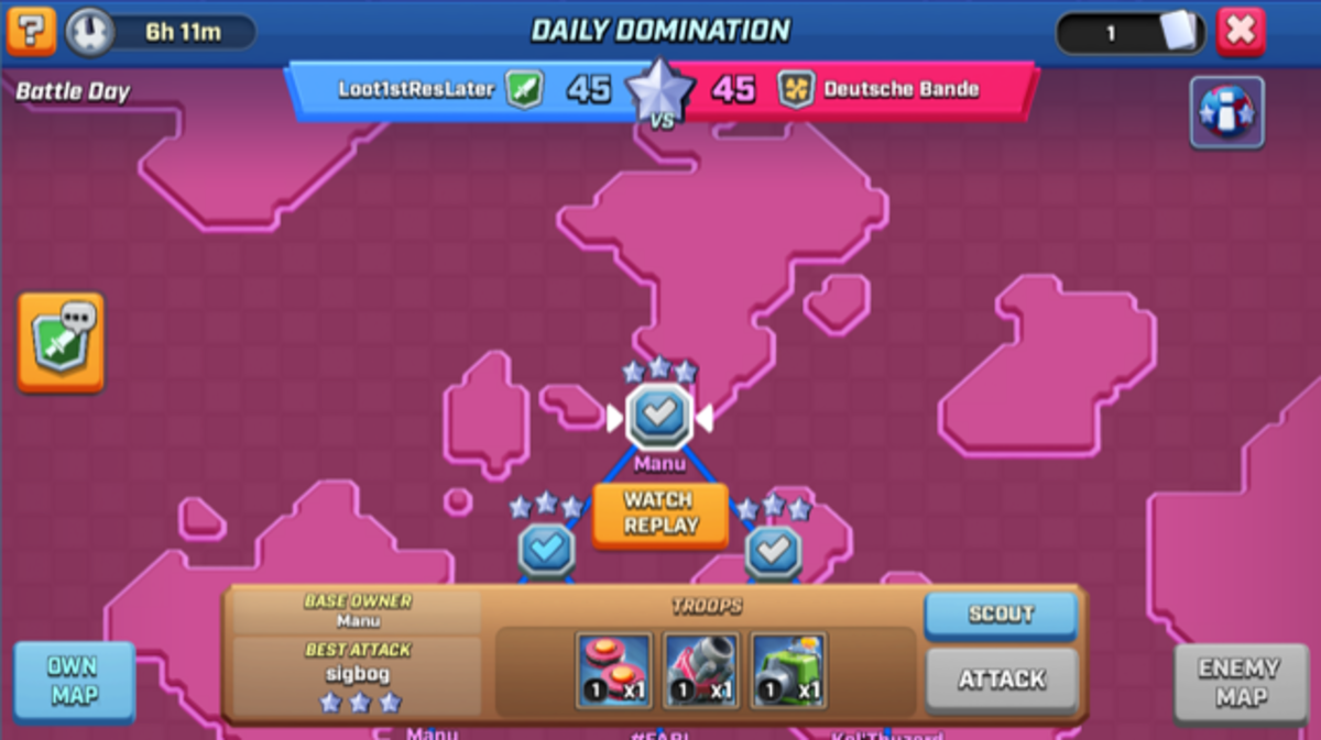 View your ally's bases and your enemy's bases in the Team Domination map.