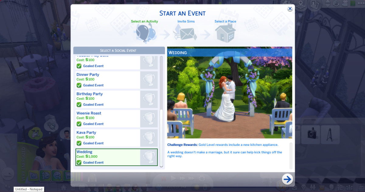 A formal wedding may be easier to pull off by using your Sim's phone to plan it as a social event.