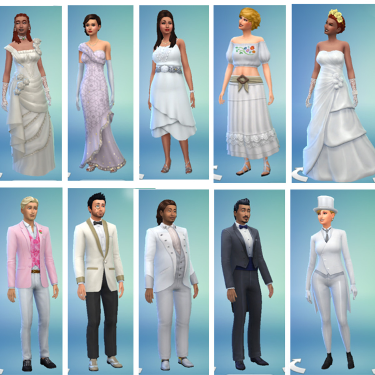 From traditional to casual, there are many different options for dressing up your SIms for their wedding. This doesn't even take into account all the custom content fans of the game make available online.