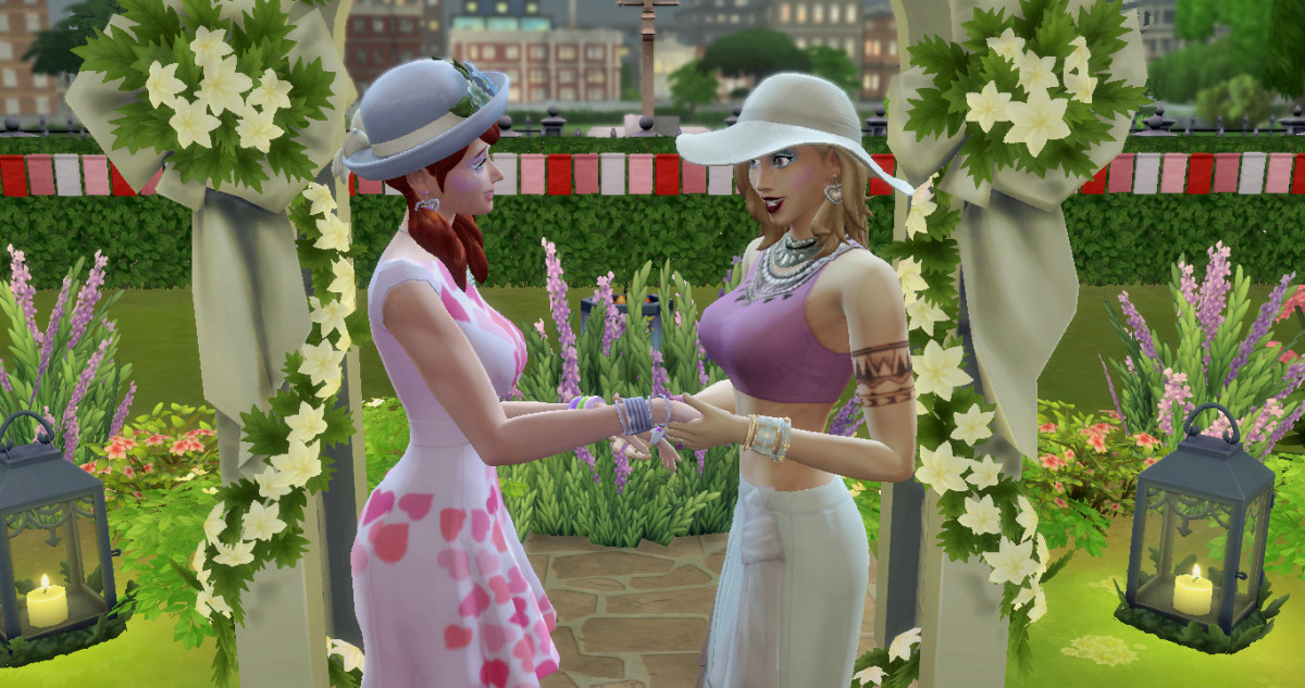 Kinga and Elyse, my two Sims I've written about a few times, had a beautiful informal wedding on a spring afternoon in a city park. Who says brides must wear white?