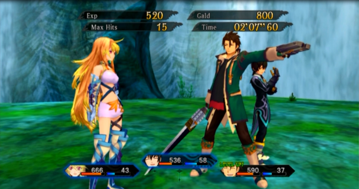 The battle victory screen. Here, character experience and gald is awarded to the party along with a brief bit of dialogue between characters.