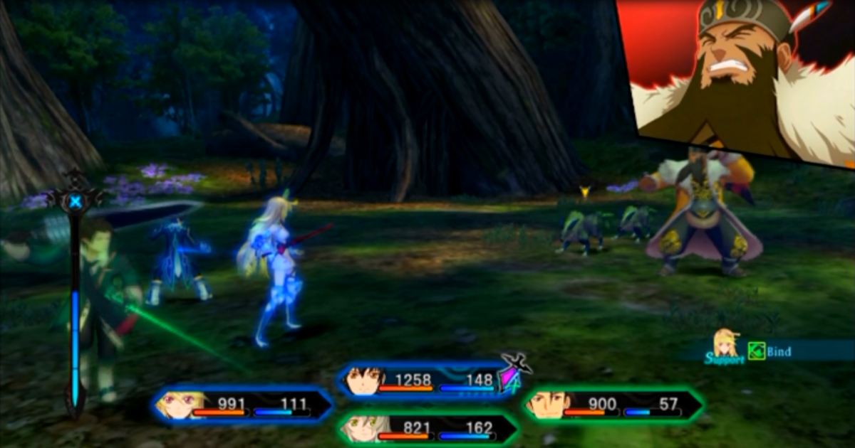 The party engaging in combat against Jiao of the Chimeriad. Note the party characters are linked with either a blue or green colour.