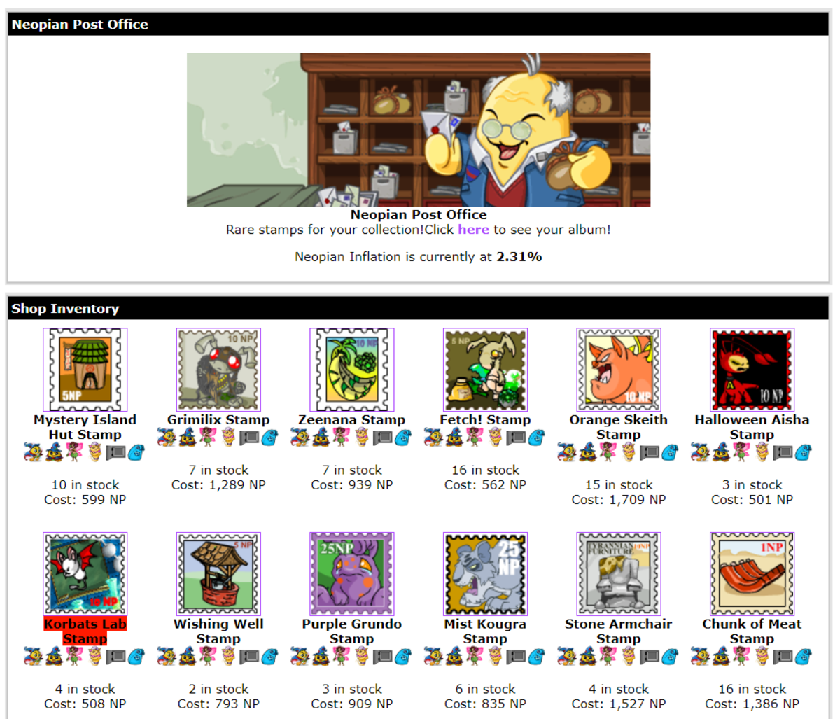 The Neopian Post Office is one of my personal favourite places to restock from!