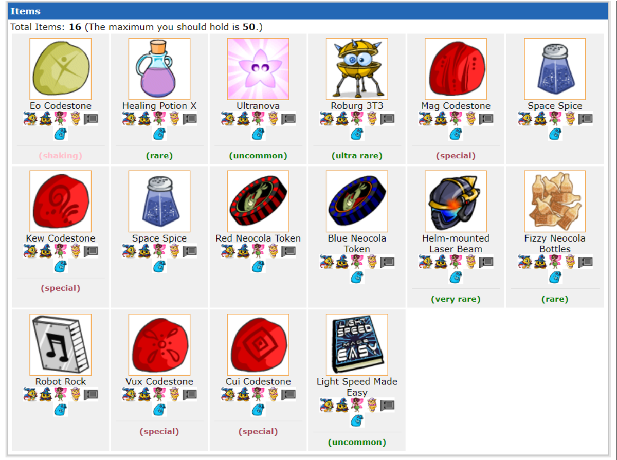 A typical Battledome haul for me; these goods will sell for at least 100K NP, if not more.