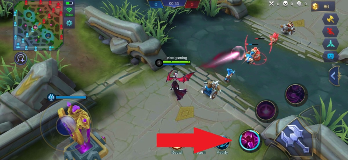 Alice shooting a Flowing Blood towards Enemy Minions