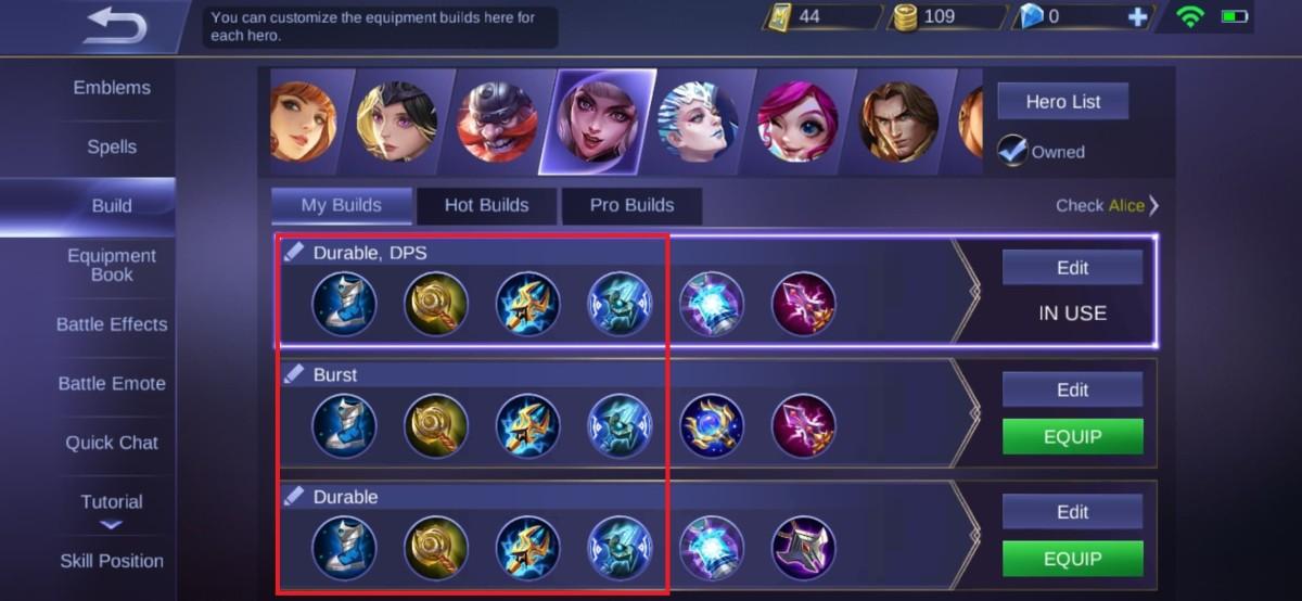 "Core Equipment for Alice in ""Mobile Legends"""