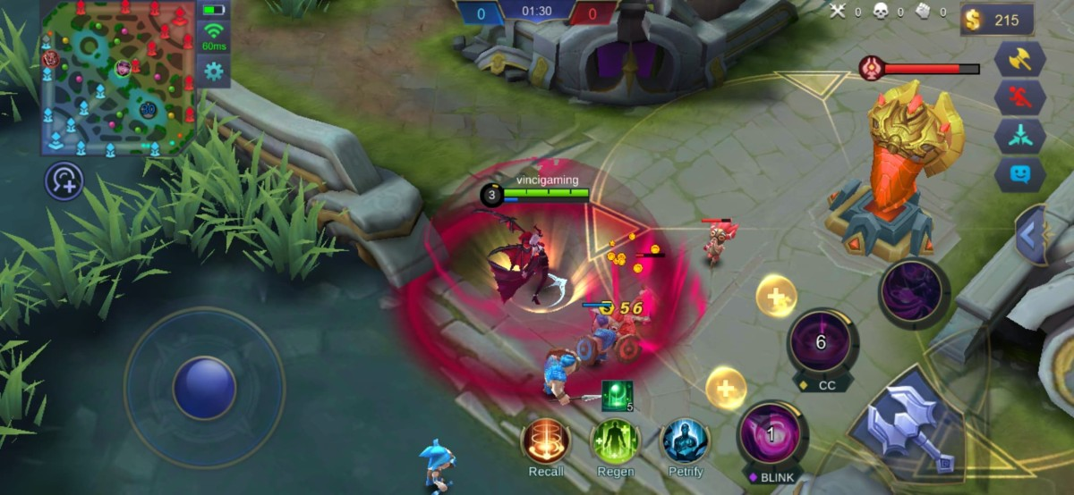 Alice immobilizes enemy minions through her second skill