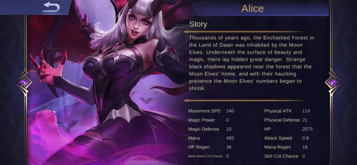 "Alice's Hero Description in ""Mobile Legends"""