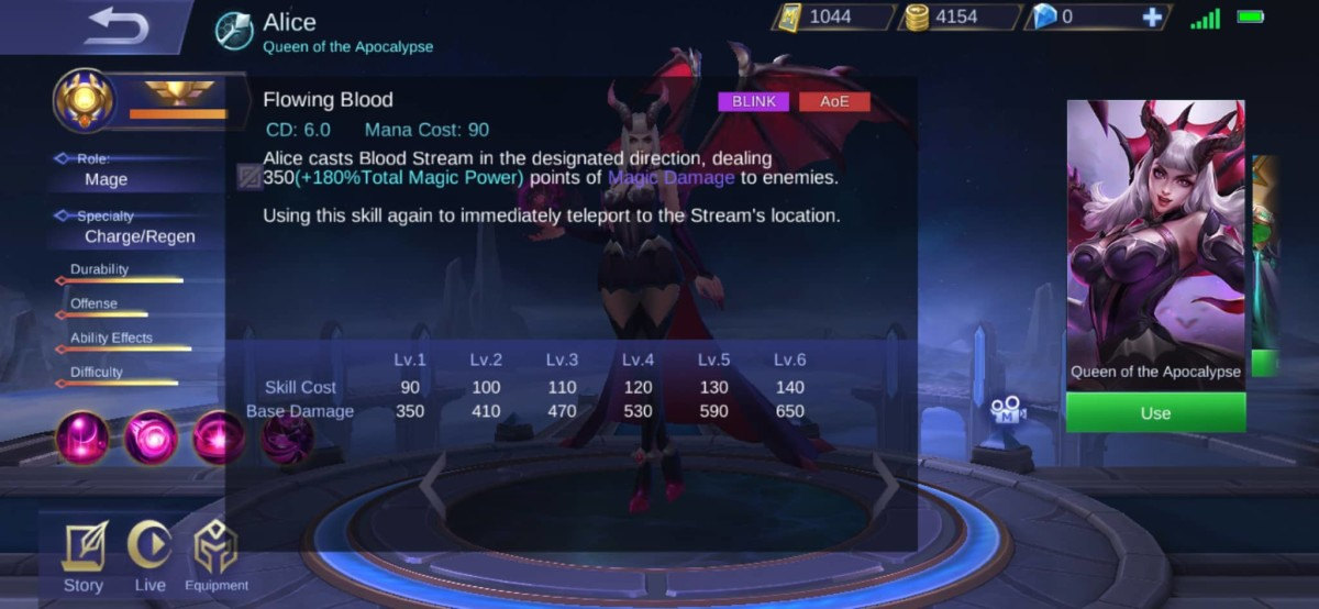 Flowing Blood Description of Alice's Skill