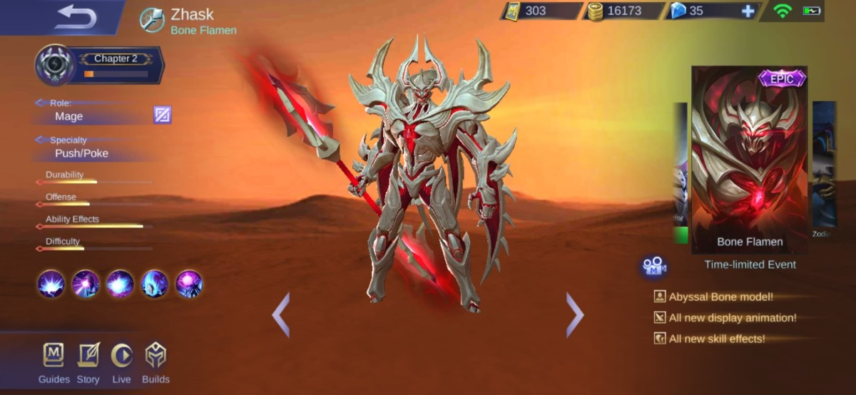 Zhask is looking white in his Bone Flamen Skin