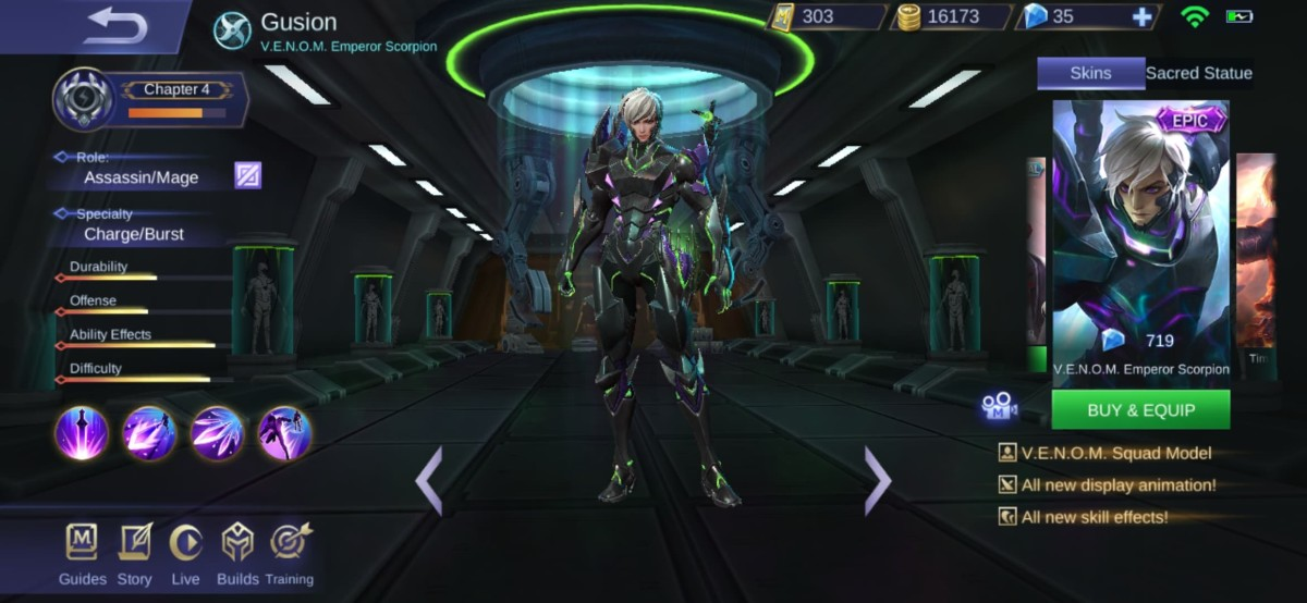 Gusion's V.E.N.O.M Emperor Scorpion Skin looks badass