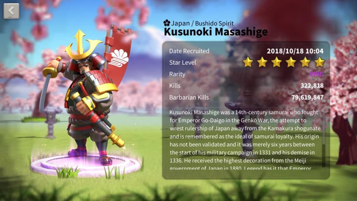 Kusunoki Masahige Profile Page